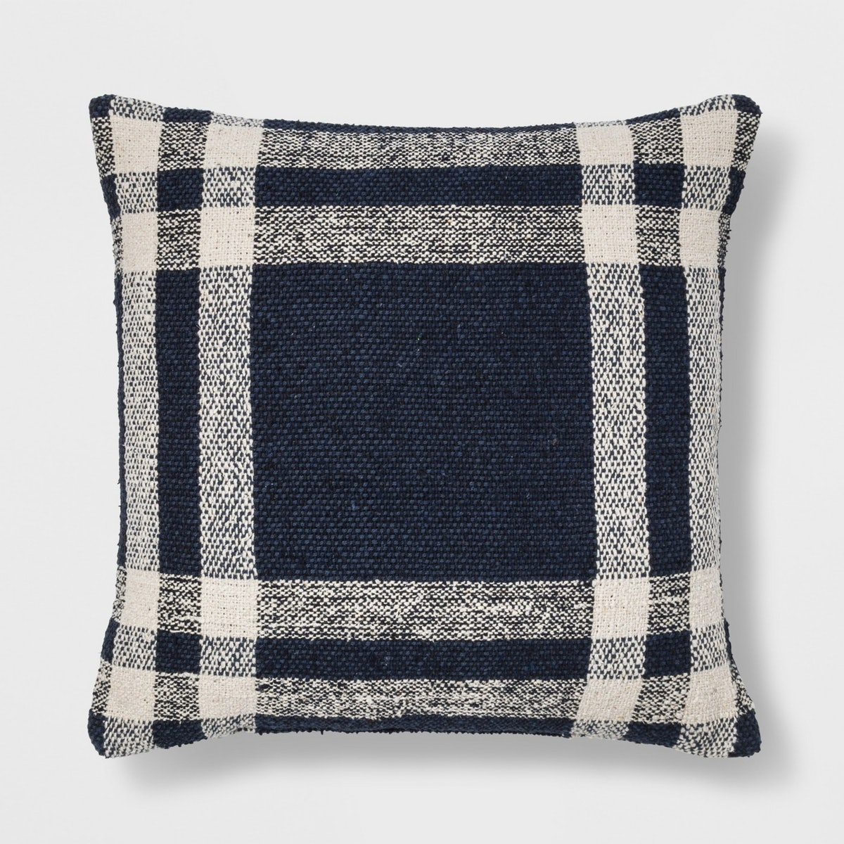 Threshold Woven Plaid Square Throw Pillow Blue