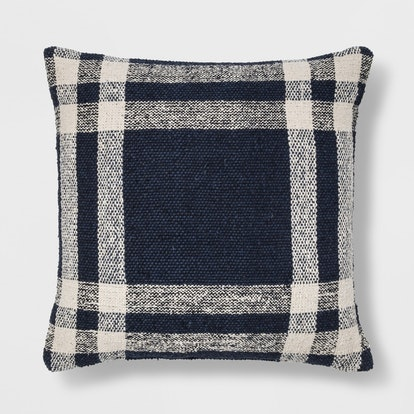 Threshold Woven Plaid Square Throw Pillow Blue