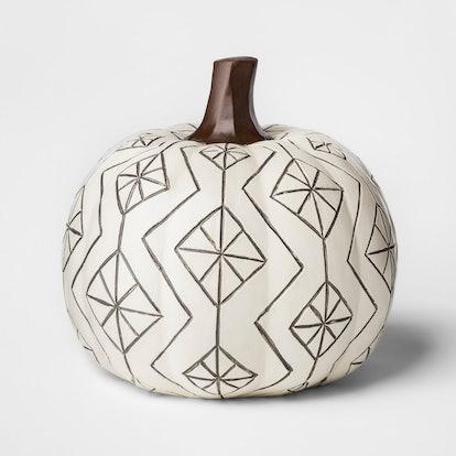 Large Etched Design Halloween Pumpkin Cream