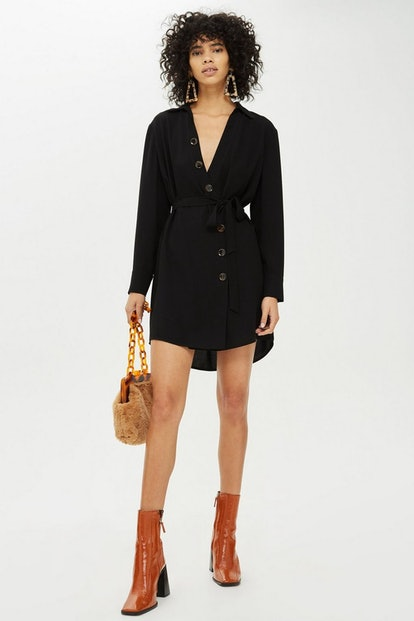 Horn Button Shirt Dress