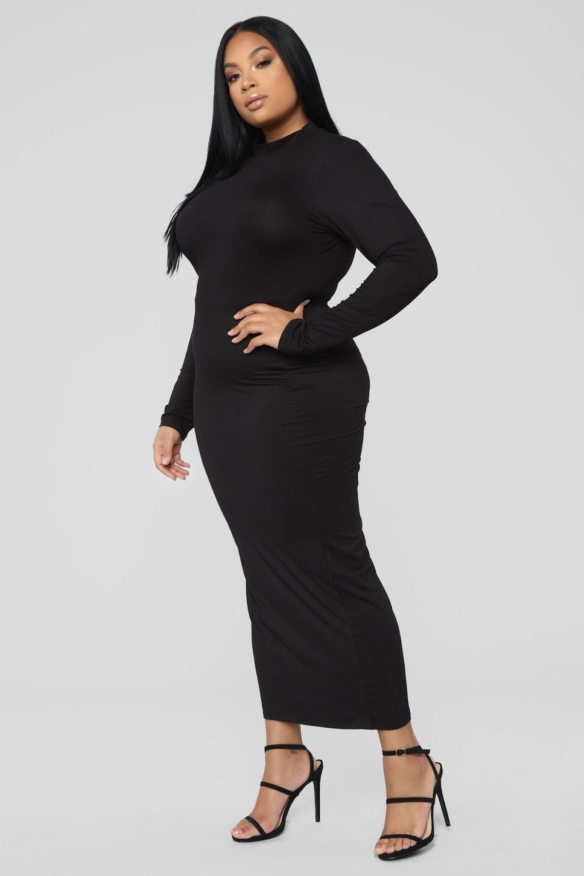 Full Coverage Maxi Dress - Black