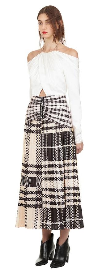 Off Shoulder Printed Pleat Midi Dress