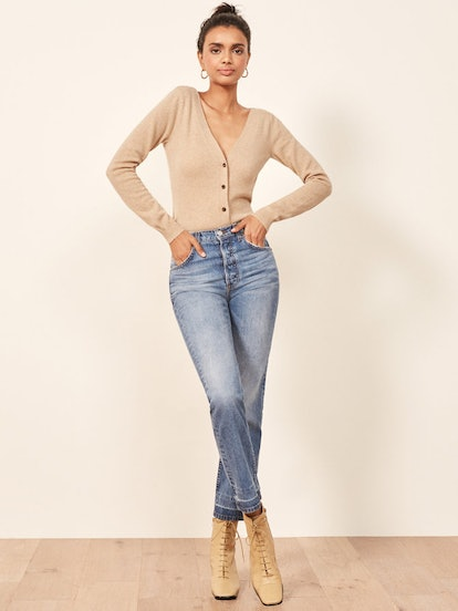 Cropped Double V Cardigan