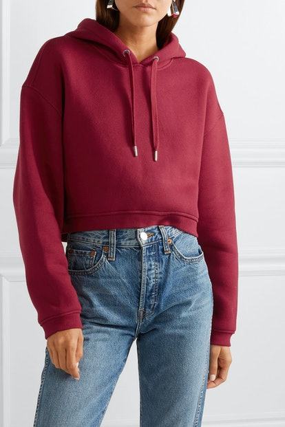 Dence Cropped Cotton-Blend Hoodie