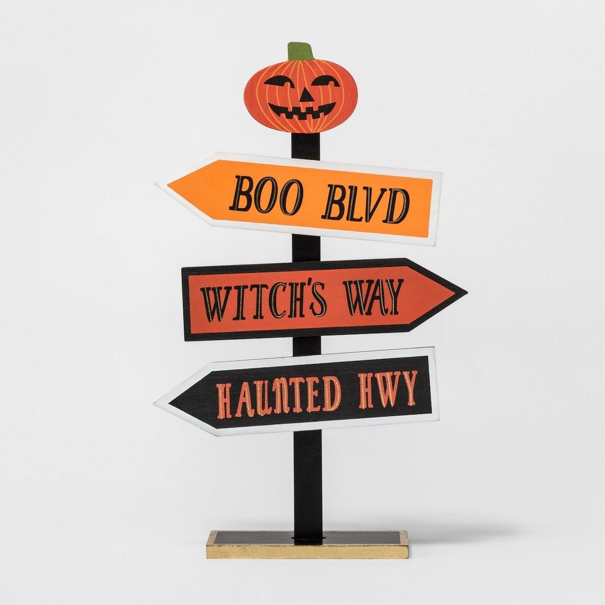 Halloween Pumpkin Arrows Tabletop Sign