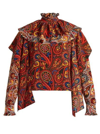 Paisley-Print Ruffle-Trim Silk Blouse