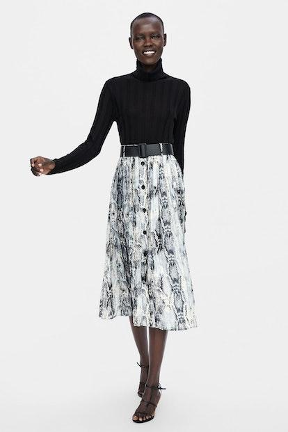 Belted Snakeskin Print Skirt