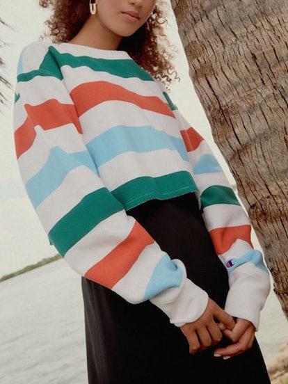 Rainbow Stripe Cropped Sweatshirt