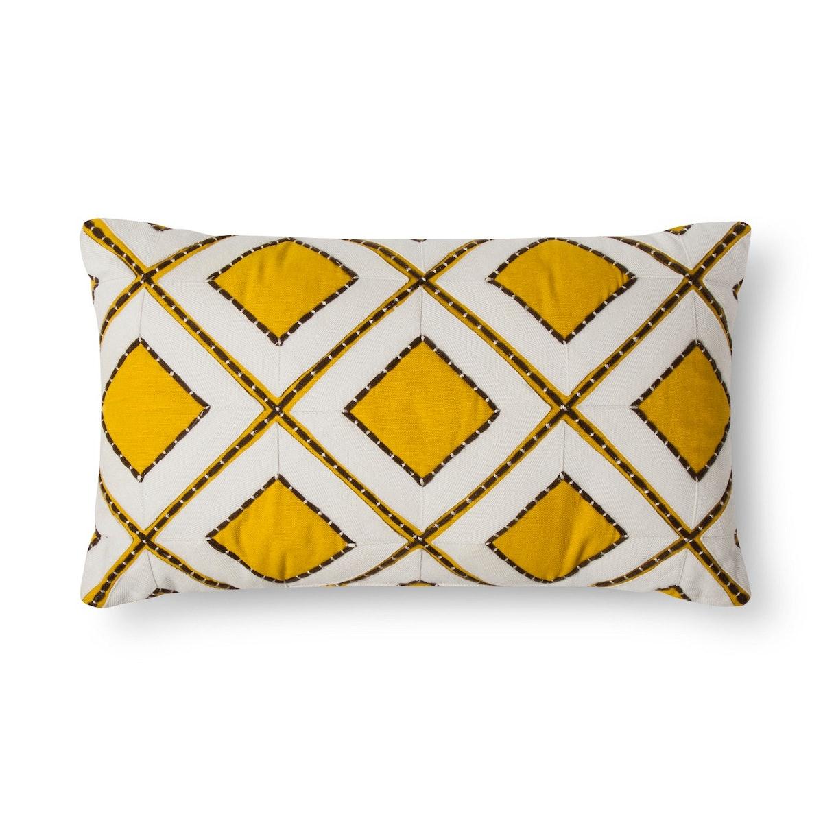 Threshold Yellow Stitch Diamond Oblong Throw Pillow