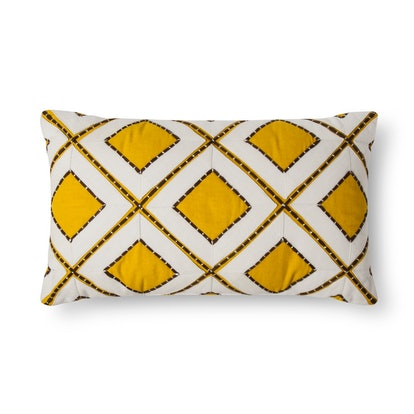 Threshold Yellow Stitch Diamond Oblong Throw Pillow