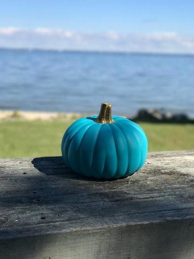 Time and Tide Design Teal Pumpkin with Gold Stem