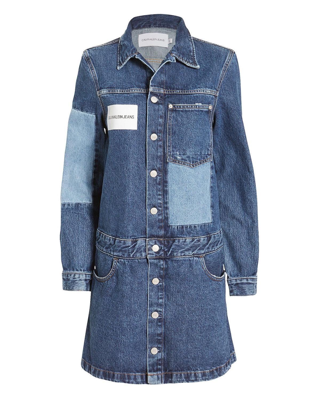 Calvin Klein Jeans Logo Patchwork Trucker Dress