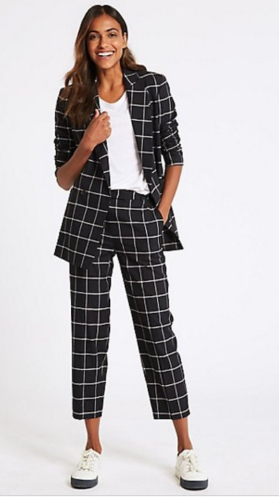 Checked Blazer & Straight Legged Trousers