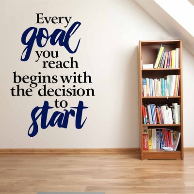Goal Setting - Decision To Start Wall Decals Quotes