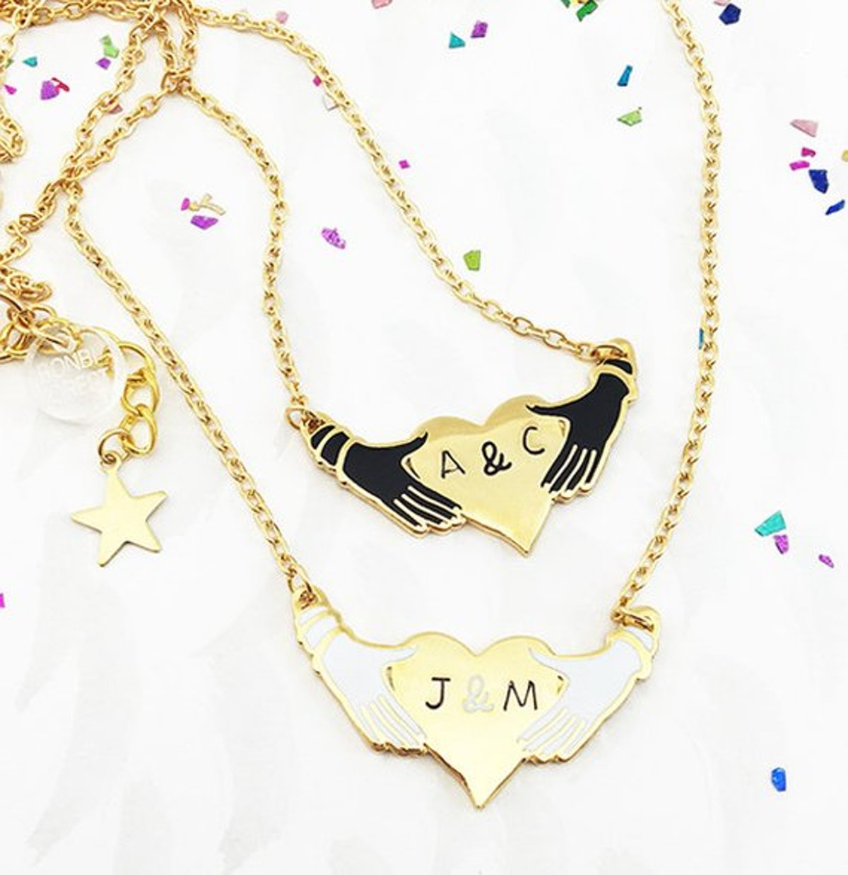 Hands and Heart Personalized Enamel Necklace