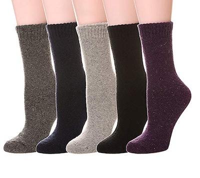Color City Women's Wool Socks (5-Pairs)
