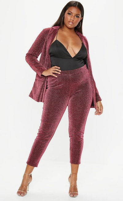 Plus Size Dark Pink Sparkle Tapered Trousers/Jacket