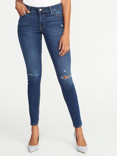 Mid-Rise Distressed Rockstar Super Skinny Jeans