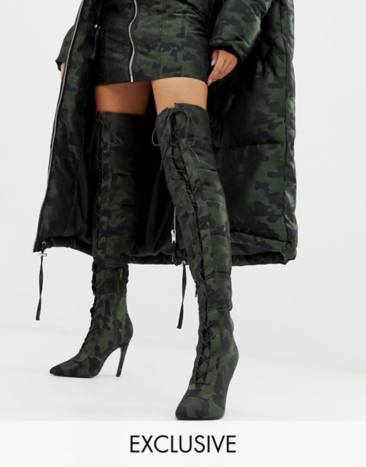 ASOS DESIGN x LaQuan Smith padded over the knee heeled boot in camo jacquard