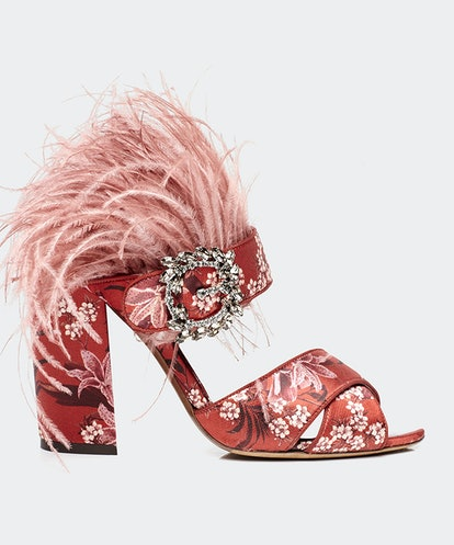Embellished Feather Heels