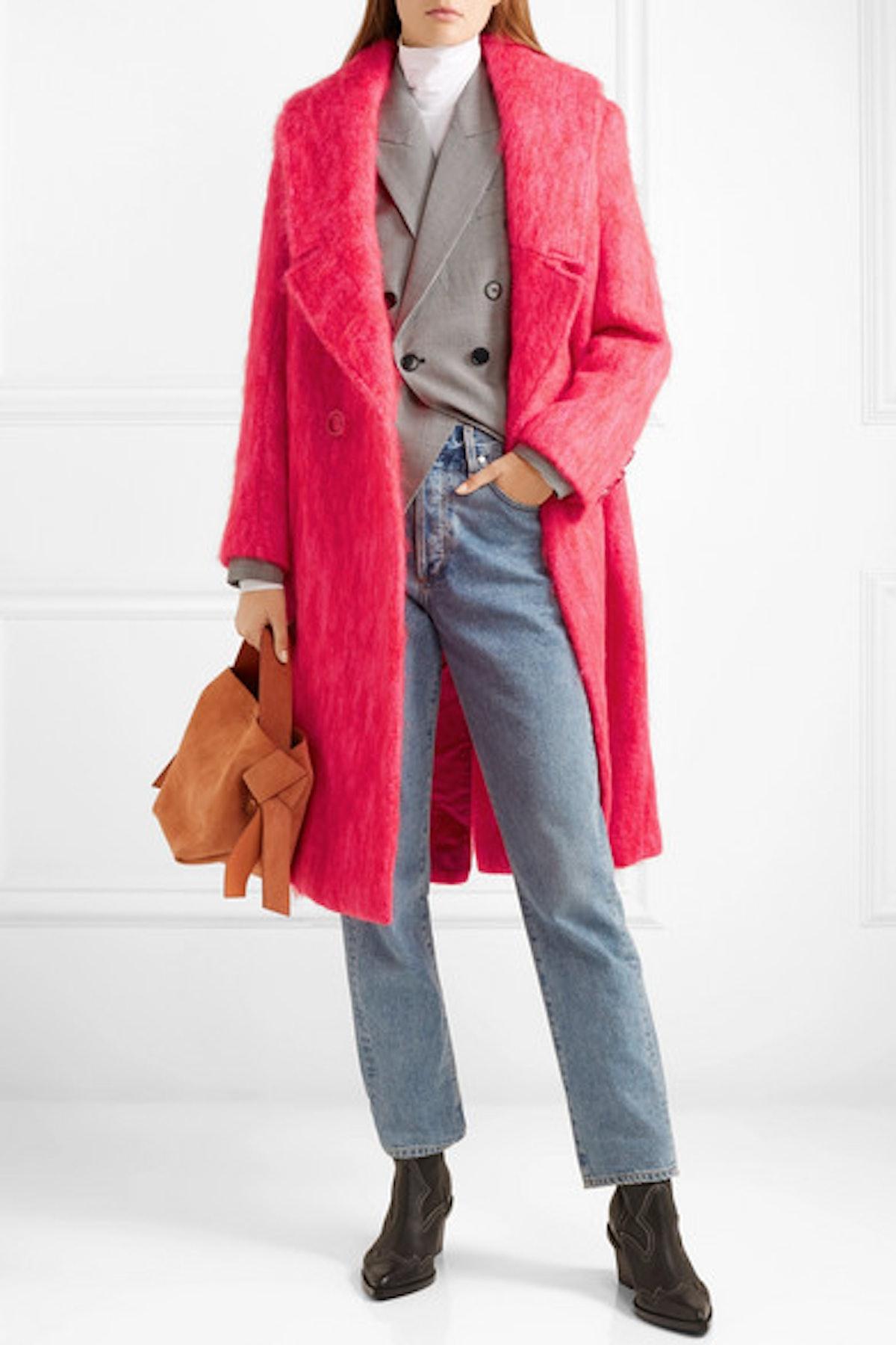 Rainbow Mohair-Blend Coat