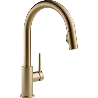 Delta Trinsic Single-Handle Pull-Down Sprayer Kitchen Faucet in Champagne Bronze