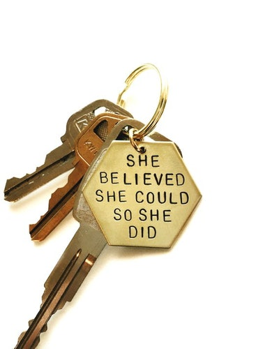 She Believed She Could Handstamped Keychain