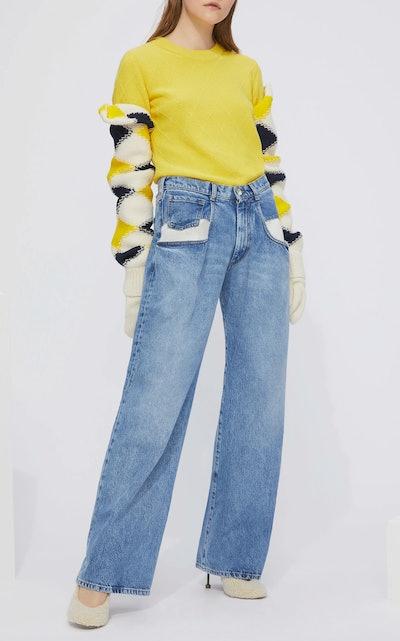Dropped Pocket Wide-Leg Jeans