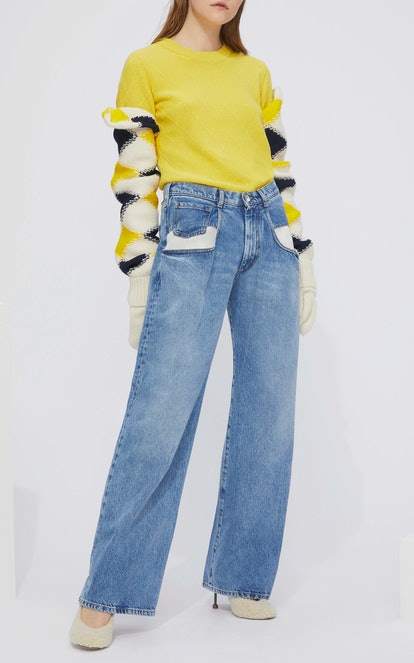 Dropped Pocket Wide-Leg Jeans