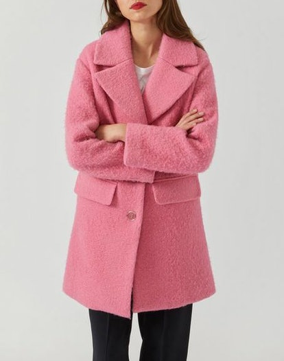 Single-Breasted Coat in Bouclé Fabric