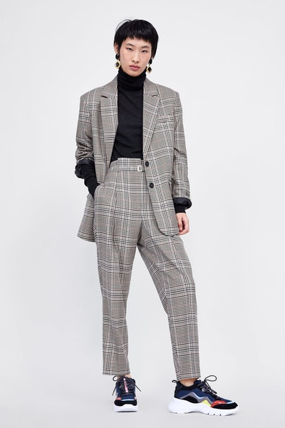 Check Blazer/Checked Trouser With Belt