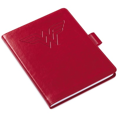 Wonder Woman™ Logo Red Faux Leather Notebook