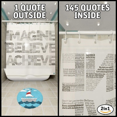 Motivational 2in1 Shower Curtain