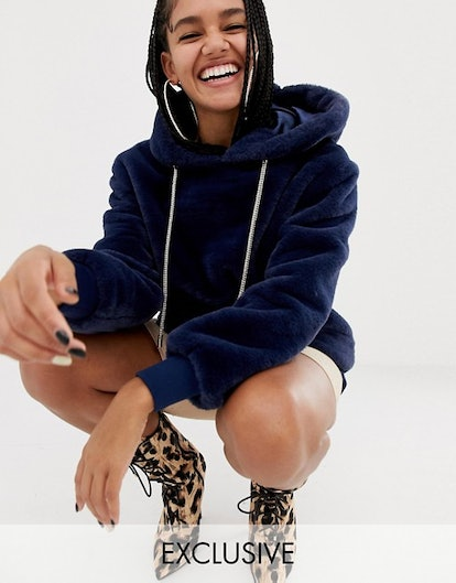 ASOS DESIGN x LaQuan Smith oversized faux fur hoodie with embellished draw cord