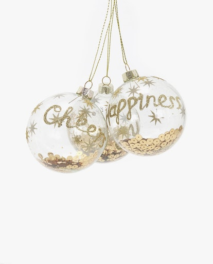 Christmas Ornament With Sequins (Pack Of 3)