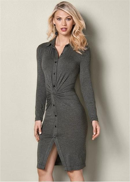Knot Detail Shirt Dress