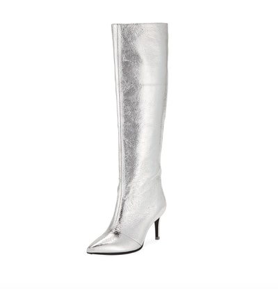 Silver Knee High Boots