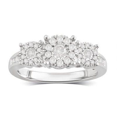 1/2 Carat T.W Diamond Sterling Silver Engagement Ring