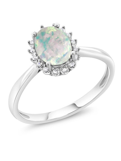 10K White Gold 1.05 Ct Oval White Simulated Opal Engagement Ring with Diamonds