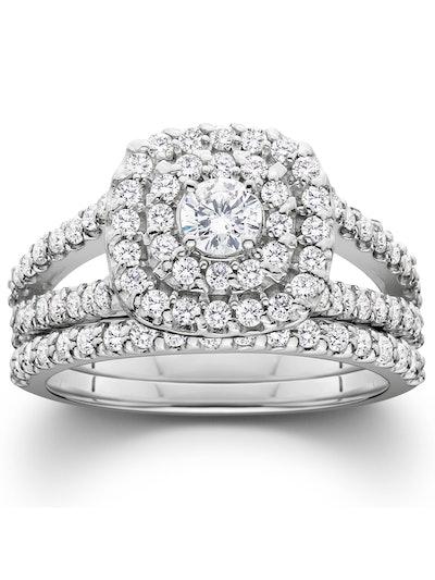 Pompeii3 1 1/10ct Cushion Halo Solitaire Diamond Engagement Wedding Ring Set White Gold
