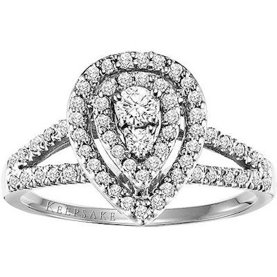 Keepsake Hibiscus 1/2 Carat T.W. Certified Diamond 10kt White Gold Engagement Ring