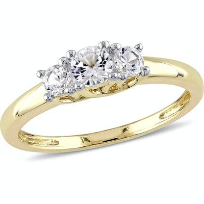 Miabella 5/8 Carat T.G.W. Created White Sapphire 10kt Yellow Gold Three Stone Engagement Ring