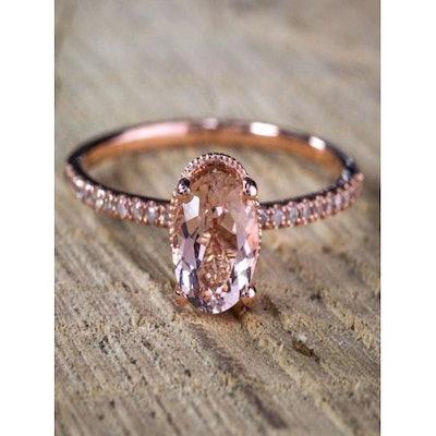 Oval cut Solitaire Morganite & Diamond Halo Engagement Ring: 1.25 Carat Morganite Solitaire Engagement Ring in Rose Gold