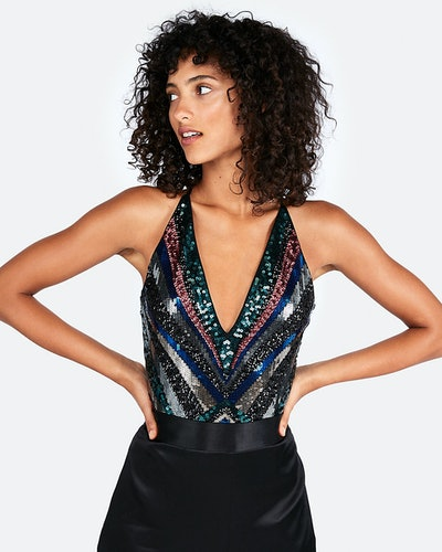 Deep V Sequin Thong Bodysuit