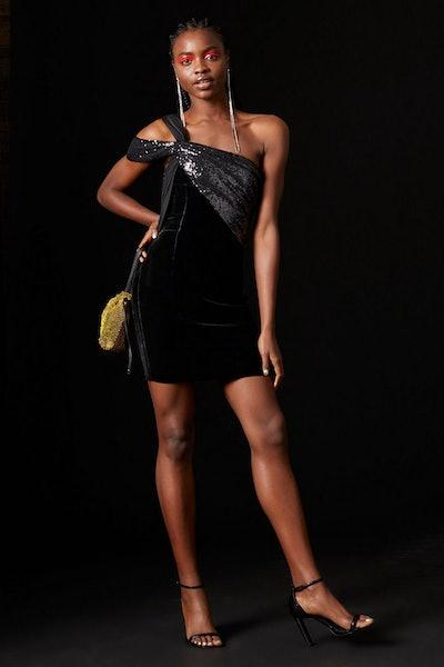 Topshop x Halpern Velvet And Sequin Dress