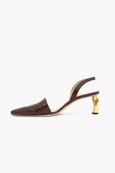 Conie Brown Leather Croc Slingback Heel
