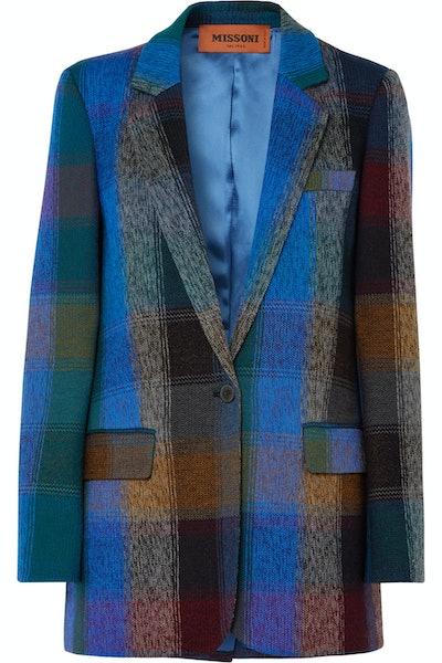 Checked Wool-Blend Blazer