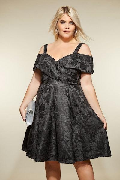 LOVEDROBE Black Bardot Jacquard Dress