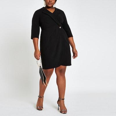Plus Black Tux Mini Dress