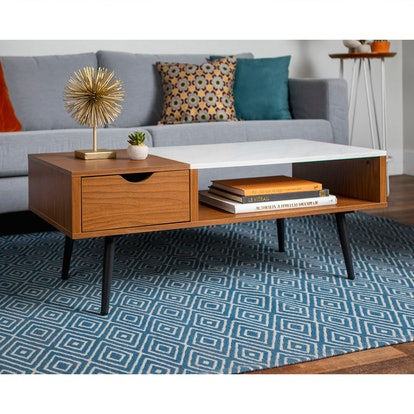 Wood And Faux Marble Coffee Table - Saracina Home